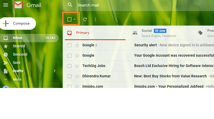 delete all emails in gmail