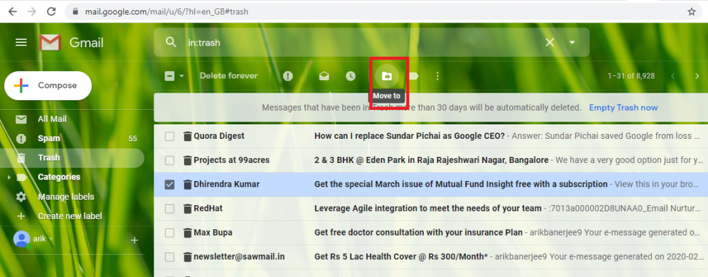 retrieve deleted gmail emails