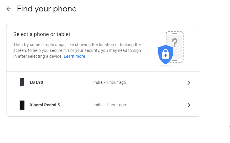 Google Account And Security Settings