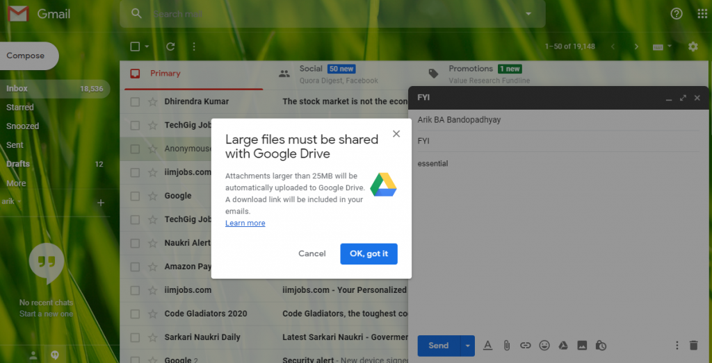how to send larger files by email in Gmail